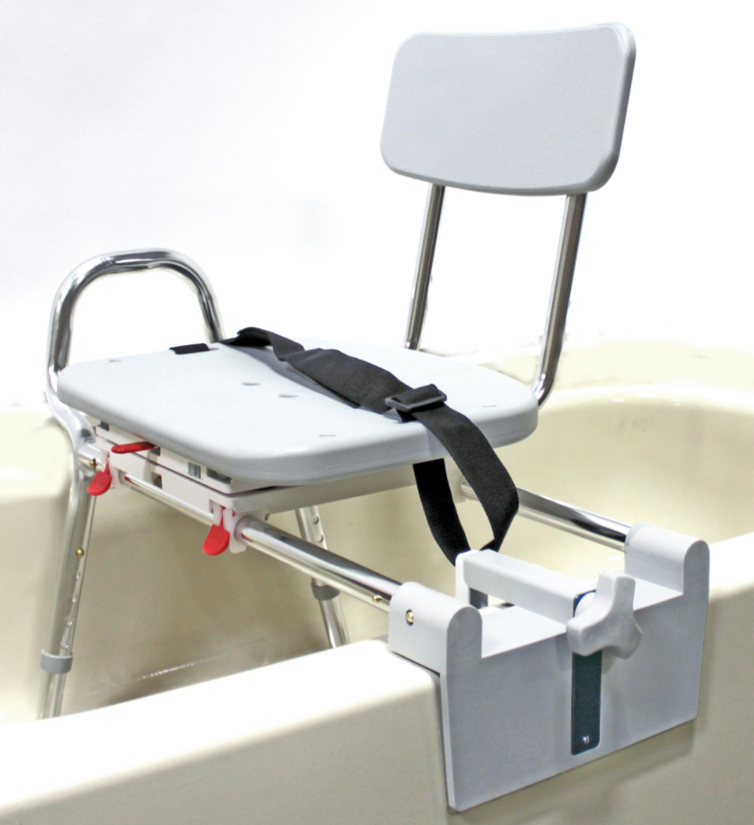Bath - Commode : Sliding Tub-Mount Transfer Bench with Swivel Seat